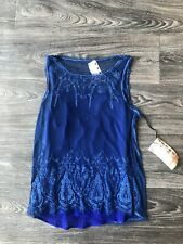 NWT Da Nang Women's Mesh Embroidered Sleeveless Blouse Blue