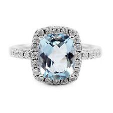 14k White Gold Antique Rectangular Cushion Sky Blue Topaz & Diamond Halo Ring