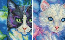 "Lot of 2 Counted Cross Stitch Kits Snowshoe~Turkish Angora Cats 8"" x 10"" By Dmc"