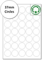 37mm circles Biodegradable round Labels - Eco Friendly Compostable Stickers