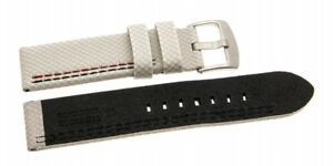 Watchband Synthetic Carbon White With Black/Red Seam 0 7/8in 0 15/16in 1 1/