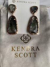 Kendra Scott Daria Statement Earrings Rose Gold Crystal Gray Illusion