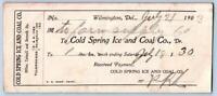 1903 COLD SPRING ICE & COAL CO WILMINGTON DELAWARE*DE*LOT OF 5 ANTIQUE RECEIPTS