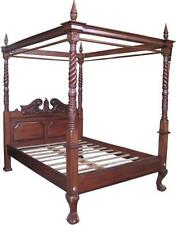 5' King Size Queen Anne 4 Poster Canopy Bed Solid Mahogany Antique Repro B021