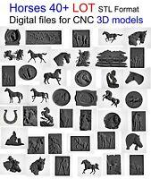 Horses collection 40 + LOT 3D Model STL relief for cnc Aspire artcam