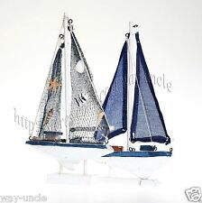 Blue Sailboat model + fishing net ship model handcraft wooden boat model SET