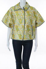 NEW PRADA Green Yellow White Brocade Short Sleeve Jacket Sz EUR 44