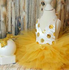 Vestido de fiesta bebé Niña primero 1st Cumpleaños Traje Tutú Pastel Smash sesión fotográfica Arco