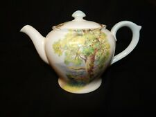 "VINTAGE SHELLEY "" WOODLAND 13348 "" TEA POT WITH LIGHT BLUE HANDLE > 6"" TALL..."