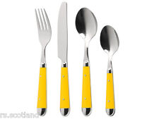 NEW 16PC BRASSERIE CUTLERY SET STAINLESS STEEL KITCHEN DINING 8 COLOURS