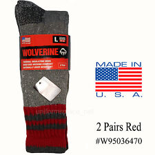 Wolverine Thermal Socks Mens 2 Pairs Marino Wool Boot Crew Sock Insulating Large