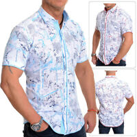 Mens Short Sleeve Shirt White Classic Collar Cotton Check Trim Slim Linen Like