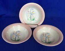 3 Homer Laughlin Swing Eggshell Bowls 6 1/2  Inch Cubist Tulip In Vase Vintage