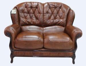 Venice 2 Seater Tabak Brown Italian Leather Sofa Settee