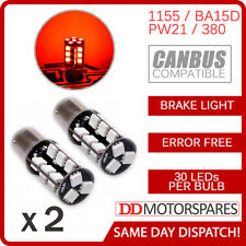 2 x RED STOP/TAIL/BRAKE LED CANBUS BULB ERROR FREE BAY15d 380 p21/5w 1155 30 SMD