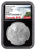 2018 Canada 1 oz Silver Maple Leaf -Incuse $5 NGC MS69 FR Black SKU52137