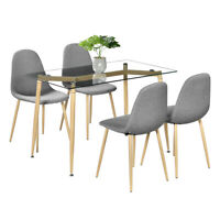Clean Glass Dining Table With Wood Grain LegTempered Glass Dinner Room Furniture