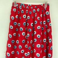 J. Crew Factory red printed faux-wrap midi skirt XXS lined floral