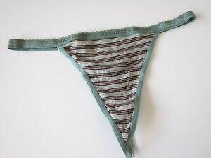 1 NEW Victoria's Secret VINTAGE Cotton Signature V-String Thong Panty MEDIUM
