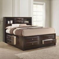 NEW Brown 8-Drawer Storage Queen King Platform Bed Dark Cherry Modern Furniture