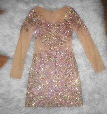 Gold Sequin Nude Mesh Long Sleeve Sheer Dress Size Xs Wedding Cocktail Prom
