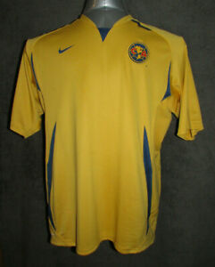 NIKE Fit Dry Club America Athletic Soccer Jersey XL Men's Yellow CA