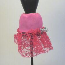 Tlc Mod Barbie Pak Petti Pink Silver 'N Satin #1552 Hot Pink Lace Slip Vintage