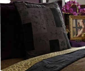 SET OF 2 New Ralph Lauren New Bohemian Quilt Beaded Euro Pillow Shams Black