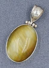 Womens Necklace Sterling Silver & Tigers Eye Gemstone Pendant Stamped WIZ 925