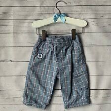 Baby Boys 3-6 Months - Trousers MEXX Blue Grey Check Stretch Waist Lined Cotton