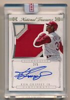 2015 National Treasures * KEN GRIFFEY JR Jumbo Game Used Patch On Card Auto #2/5