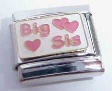 BIG SIS Italian Charm - 9mm Pink Hearts I Love My SISTER fits 9mm Bracelets E120