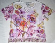 Alfred Dunner Petite XL Floral Watercolor Studded Polyester/Spandex Knit Top Tee