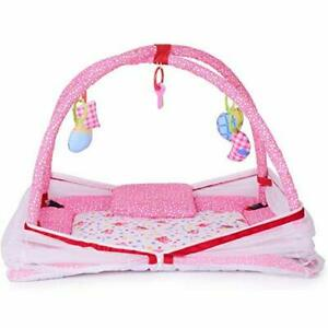 Baby Bedding Set with Mosquito Net and Baby Play Gym with Mosquito Net (Pink)