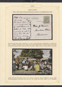 UK 1909 BURMESE BAZAAR MARKET POSTCARD USED IN ENGLAND TO HEADCORN