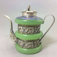 CHINESE TIBET SIVER HANDWORK DRAGON OLD GREEN JADE TEAPOT