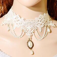 Choker weiß Gothic Spitze Perlen Collier Kragen weiss Victorian Halsband Barock