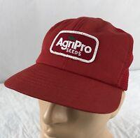 Vtg AgriPro Seeds Hat Snapback Trucker Cap Swingster Farm Patch USA Mesh Red