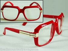 Clear Lens Retro 80s Gazelle Rap Artist DJ Style Red Un Sun Glasses _ Gold Metal