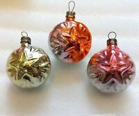 3 Vintage Russian USSR Glass Christmas Tree Ornaments Xmas Decorations Stars