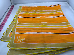 Vintage Vera Neumann Yellow, brown, orange striped scarf