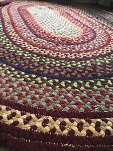 wool braided rug Lg Area Rut  85x64 Oval Woven Rug Home Carpet Flooring Oriental