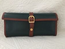 DULWICH DESIGNS Genuine Leather Green Jewelry Storage Travel Roll Purse Case EUC