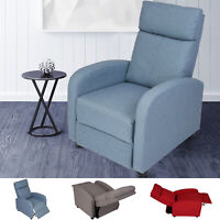 VILOBOS Recliner Chair Fabric Single Sofa Padded Seat Theater Seating Footrest