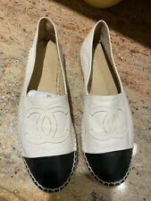 CHANEL Leather Espadrilles Flats CC Cap Shoe White Black   size 40