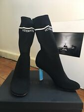 VETEMENTS Sock Boots In Box NEW knit blue lighter logo ankle boot size 36, 6