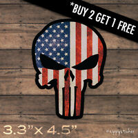 Punisher Sticker -  USA American Flag Skull Vinyl Window Laptop Car Truck Laptop
