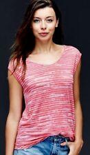 GAP - S - Women's 100% Linen Cap Sleeve Wavy Stripe Tee Top  Neon Pink - NWT