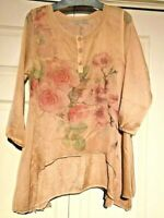 Pretty Angel layered lined floral tunic top S M L XL silk blend  lightweight