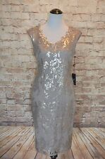 Modcloth Cantata for Now Sheath Dress NWT 8 Adrianna Papell Silver Gray sequin